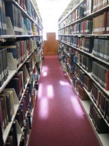 פרוסדור בין שני מדפים בספריה